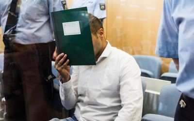 Mahood B, suspected of having planed an attack in the center of Duesseldorf, Germany, prior to his trial in the courtroom in Duesseldorf, July 5, 2017.(AFP Photo/DPA/Marcel Kusch)