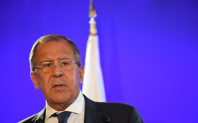 Russian Foreign Minister, Sergei Lavrov holds a press conference with his French counterpart following their talks on Ukraine and Syria, at the Foreign Ministry in Paris, July 6, 2017. (AFP/Eric FEFERBERG)
