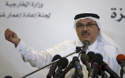 Qatar's ambassador to Gaza Mohammed al-Emadi speaks during a press conference with UN Special Coordinator for the United Nations for the peace process in the Middle East, in Gaza City, on July 11, 2017. (AFP Photo/Mahmud Hams)