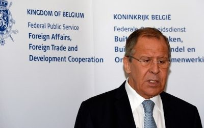 Russian Foreign Affairs Minister Sergey Lavrov delivers a press conference after meeting with the Belgian Foreign Affairs Minister at Egmont Palace in Brussels, July 12, 2017. (AFP/THIERRY CHARLIER)