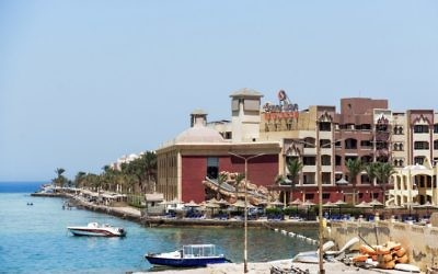 A picture taken on July 15, 2017 shows a general view of the Sunny Days Elpalacio beach in the Egyptian Red Sea resort city of Hurghada, where an Egyptian stabbed to death two German tourists and injured four others the day before. (AFP PHOTO / MOHAMED EL-SHAHED)