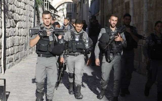 Israeli border policemen patrol in Jerusalem's Old City, on July 16, 2017. (Menahem Kahana/AFP)