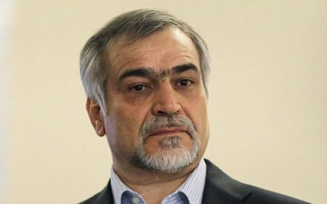 This file photo taken on April 3, 2015 shows Hossein Fereydoun, Iranian President Hassan Rouhani's younger brother and adviser, at a press conference in Tehran. (AFP Photo/Atta Kenare)