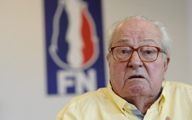This file photo taken on May 31, 2017, shows the co-founder of France's far-right National Front party Jean-Marie Le Pen at a press conference in Marignane, France. (AFP Photo/Franck Pennant)
