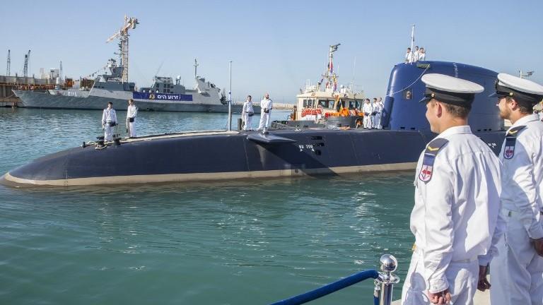 12 2016 shows the German-made INS Rahav Dolphin 2-class submarine arriving at the military port of Haifa