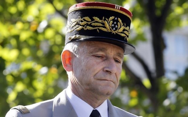 This file photo taken on July 14, 2017, shows French Chief of  Staff General Pierre de Villiers during the annual Bastille Day military parade on the Champs-Elysees in Paris. (AFP Photo/Pool/Etienne Laurent)