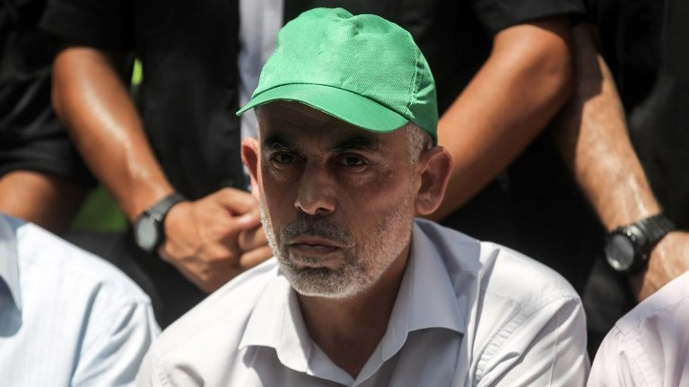 Leader of the Hamas terror group in Gaza Yahya Sinwar attends a gathering in the southern Gaza Strip city of Khan Yunis on July 22, 2017. (AFP Photo/Said Khatib)