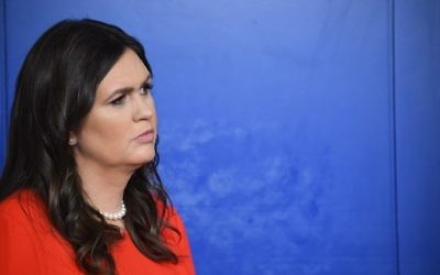 Sarah Huckabee Sanders, named as the new White House press secretary looks on during a press briefing at the White House in Washington, DC on July 21, 2017. (AFP/Jim Watson)