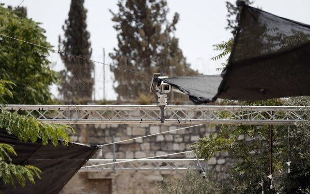 Security measures, including cameras, which were installed outside the Lion's Gate of the Old City, a main access point to the Temple Mount compound in Jerusalem, July 24, 2017. (AFP/Ahmad Gharabli)