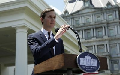 US President Donald Trump's son-in-law and special adviser Jared Kushner makes a statement at the White House, after being interviewed by the Senate Intelligence Committee in Washington, July 24, 2017. (AFP/YURI GRIPAS)