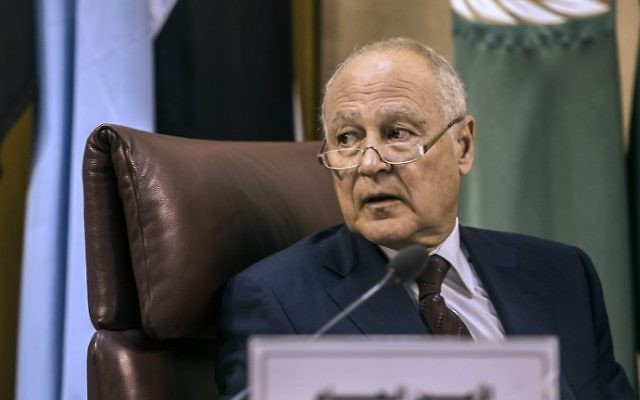 Secretary-General of the Arab League Ahmed Aboul Gheit attends the Arab Foreign Minister's meeting in Cairo to discuss the simmering unrest in Jerusalem on July 27, 2017.  (AFP PHOTO / KHALED DESOUKI)
