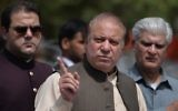 In this photograph taken on June 15, 2017, Pakistan's Prime Minister Nawaz Sharif speaks to media after appearing before an anti-corruption commission at the Federal Judicial Academy in Islamabad. (AFP PHOTO / AAMIR QURESHI)