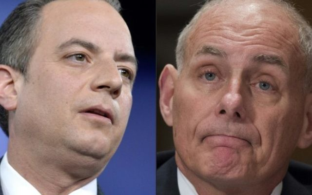 This combination of pictures shows outgoing White House Chief of Staff Reince Priebus (L) at National Harbor, Maryland, February 23, 2017 and General John F. Kelly, USMC (Ret.) on January 10, 2017 in Washington, DC (AFP PHOTO / Mike Theiler AND MOLLY RILEY)