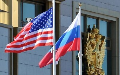 Russian and the US flags flying next to each other at Moscow Vnukovo Airport, on May 7, 2013. (Mladen Antonov/AFP)