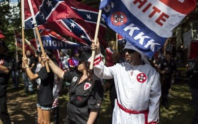 Members of the Ku Klux Klan protest on July 8, 2017, in Charlottesville, Virginia. (Chet Strange/Getty Images/AFP)