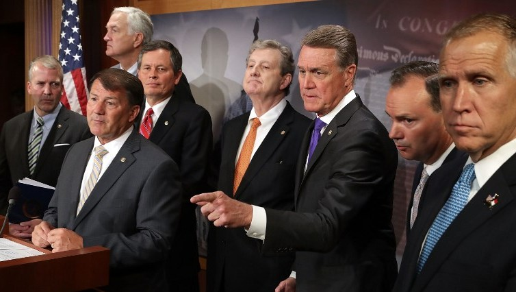 (L-R) Sen. Dan Sullivan (R-AK), Sen. Mike Rounds (R-SD), Sen. Luther Strange (R-MS), Sen. Steve Daines (R-MT), Sen. John Kennedy (R-LA), Sen. David Perdue (R-GA), Sen. Mike Lee (R-UT) and Sen. Thom Tillis (R-NC) hold a news conference at the US Capitol on July 11, 2017. (Chip Somodevilla/Getty Images/AFP)