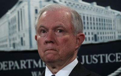 US Attorney General Jeff Sessions seen at a news conference at the Justice Department on July 13, 2017. (Alex Wong/Getty Images/AFP)