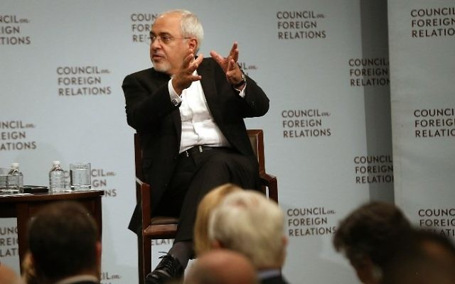 Iranian Foreign Minister Javad Zarif discusses current developments in the Middle East at the Council on Foreign Relations in New York City on July 17, 2017. (Spencer Platt/Getty Images/AFP)