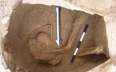 Burial of individual analyzed in the Canaanite study, from about 1600 BC. (Dr. Claude Doumet-Serhal/Wellcome Trust Sanger Institute)