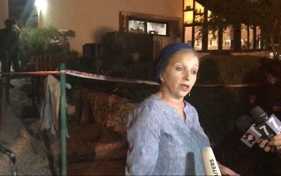 Rachel Maoz, a neighbor of the Salomon family in the settlement of Halamish (Times of Israel)