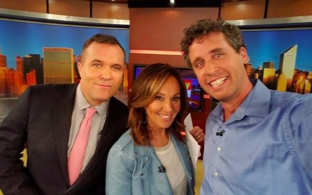 Ari Nagel (right) on the set of WNYW's Good Day New York with hosts Greg Kelly and Rosanna Scotto. Nagel has received a significant amount of media attention for his 'Sperminator' activities. (Facebook)