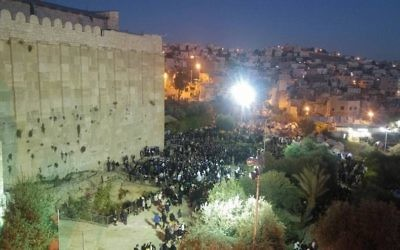 Illustrative: Worshipers at the Tomb of the Patriarchs in Hebron. (Hebron Spokesperson's Office)