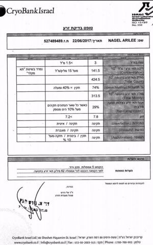 Ari Nagel posted on Facebook the lab report from the Israeli cryolab where he deposited sperm specimens for use by an Israeli woman. (Facebook)