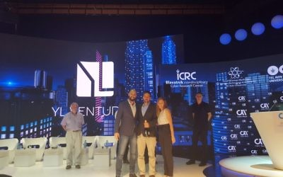 Unbotify wins the Cyberstorm Competition. From left to right: Tim Mather (PatternEx), Ofer Schreiber (YL Ventures), Yaron Oliker (Unbotify), Sharon Seemann (YL Ventures) and Roy Adar (Cyber Ark). (Courtesy YL Ventures)