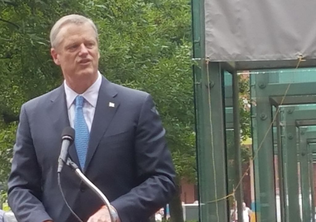 Massachusetts Governor Charlie Baker speaks at the New England Holocaust Memorial in Boston, Massachusetts, following an act of vandalism, July 11, 2017 (Matt Lebovic/The Times of Israel)