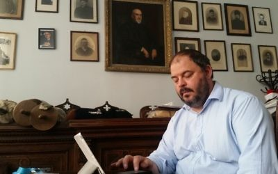 Rabbi Zoltán Radnóti in his Budapest office, July 17, 2017 (Raphael Ahren/Times of Israel)