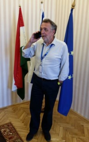 Andras Heisler, who heads the Federation of Jewish Communities in Hungary, in his Budapest office, July 17, 2017 (Raphael Ahren/TOI)