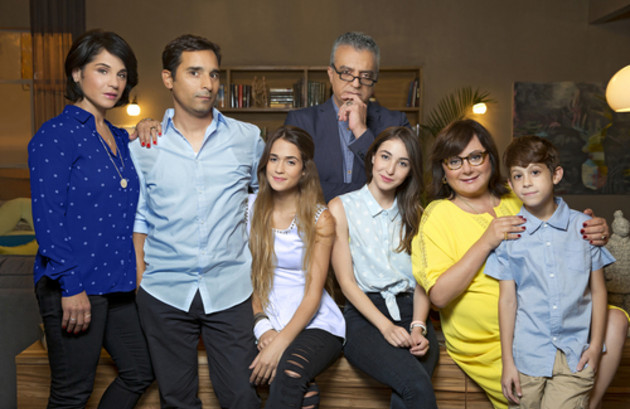 The TV family of Channel 10's 'La Famiglia,' with actors Rotem Ahubhab (far left) and Mariano Idelman (second from left) as husband and wife (Courtesy Armoza Formats)