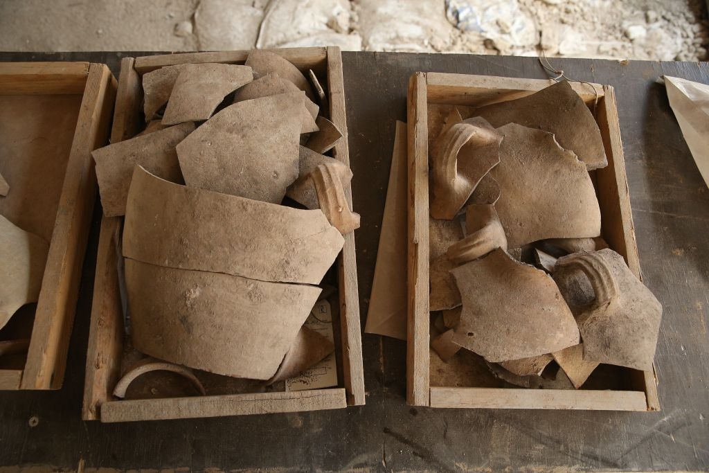 Shattered jugs, attesting to the First Temple-era destruction in the City of David. (Eliyahu Yanai, Courtesy of the City of David Archive)