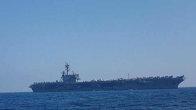 The USS George H.W. Bush off the coast of Haifa, July 1, 2017 (Momi Gabay/Haifa Port Authority)