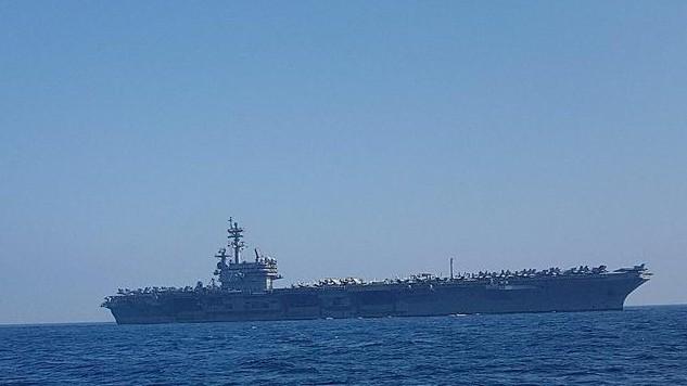 The USS George H.W. Bush off the coast of Haifa, July 1, 2017 (Momi Gabay/Haifa Port Authority)