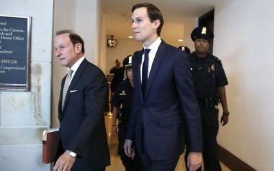 White House senior adviser Jared Kushner, center, and his attorney Abbe Lowell, left, arrive on Capitol Hill, Tuesday, July 25, 2017, to be interviewed behind closed doors by the House Intelligence Committee. (AP Photo/Jacquelyn Martin)
