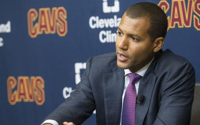 New Cleveland Cavaliers general manager Koby Altman talks during a press conference at the Cavaliers training facility in Independence, Ohio, Wednesday, July 26, 2017. (AP/Phil Long)