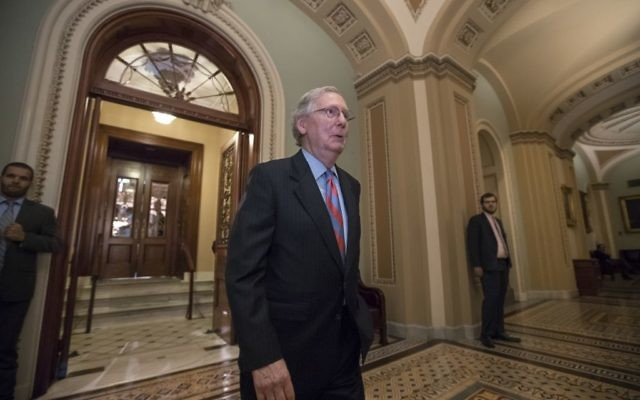 Senate Majority Leader Mitch McConnell of Ky. leaves the Senate chamber on Capitol Hill in Washington, Thursday, July 27, 2017. (AP Photo/J. Scott Applewhite)