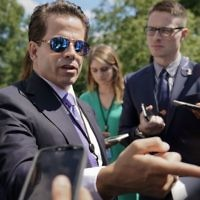 In this Tuesday, July 25, 2017, photo, White House communications director Anthony Scaramucci speaks to members of the media at the White House in Washington. (AP Photo/Pablo Martinez Monsivais)
