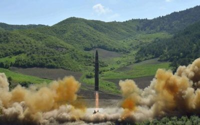 A July 4, 2017 file photo, distributed by the North Korean government, shows what was said to be the launch of a Hwasong-14 intercontinental ballistic missile in North Korea. (Korean Central News Agency/Korea News Service via AP, File)