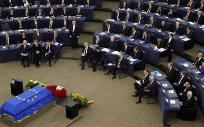 Leaders sit during an homage ceremony to former German Chancellor Helmut Kohl, at the European ceremony in Strasbourg, eastern France, Saturday July 1, 2017 (AP Photo/Michel Euler)