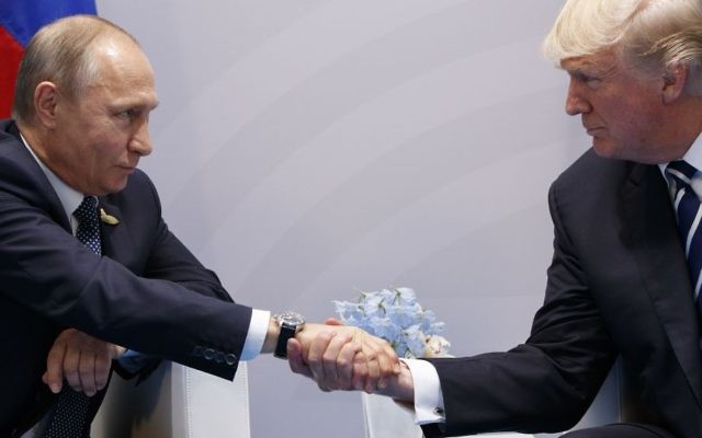 President Donald Trump shakes hands with Russian President Vladimir Putin at the G20 Summit, Friday, July 7, 2017, in Hamburg. (AP/Evan Vucci)