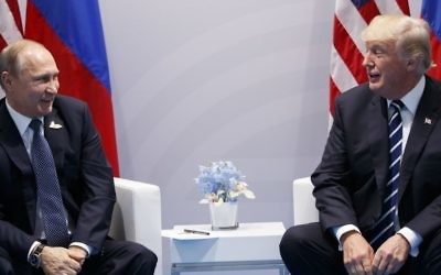 US President Donald Trump meets with Russian President Vladimir Putin at the G20 Summit, Friday, July 7, 2017, in Hamburg. (AP/Evan Vucci)