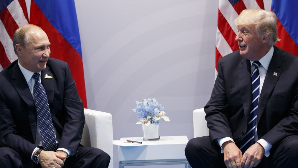 US President Donald Trump meets with Russian President Vladimir Putin at the G20 Summit Friday