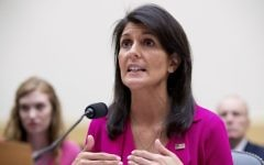 US Ambassador to the UN Nikki Haley testifies on Capitol Hill in Washington, Wednesday, June 28, 2017, before the House Foreign Affairs Committee hearing: 'Advancing US Interests at the United Nations'. (AP Photo/Andrew Harnik)