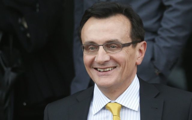 AstraZeneca CEO Pascal Soriot outside the British Parliament May 13, 2014.  (AP Photo/Lefteris Pitarakis)