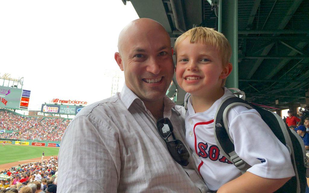 Massachusetts native Mike Shultz and his son Ari at Boston's Fenway Park, 2016 (Courtesy)