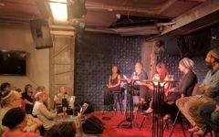 Panelists at Sunday evening's Times of Israel Presents launch of 'Becoming Israeli.' From left: Sarah Tuttle Singer, Yossi Klein Halevi, Hillary Faverman, Chaya Lester, Akiva Gersh, Benji Lovitt. (Yaakov Schwartz/Times of Israel)