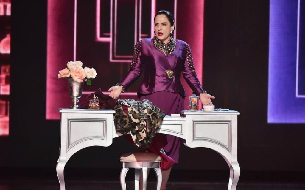 Patti LuPone, in her role as the cosmetics mogul Helena Rubinstein in the Broadway musical 'War Paint,' performing at the Tony Awards in New York City, June 11, 2017. (Theo Wargo/Getty Images for Tony Awards Productions/via JTA)