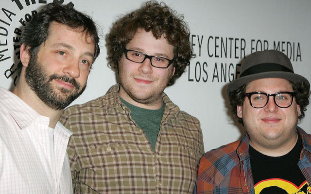 From left: Judd Apatow, Seth Rogen and Jonah Hill at the 25th Annual William S. Paley TV Festival at the Arclight in Hollywood, March 17, 2008. (Jason LaVeris/FilmMagic/via JTA)